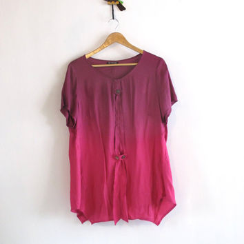 90s ombre slouchy t shirt. Violet and Pink ombre relaxed fit tunic top. Ombre Art shirt.