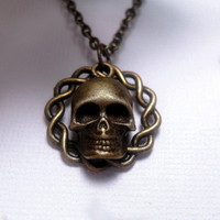 Twisted Circle Skull Necklace  Skeleton  by FashionCrashJewelry