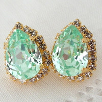 Clear Mint Swarovski crystal teardrop stud earrings, Rhinestones stud earrings, Bridal earrings, Bridesmaids gifts, Gold or silver plating