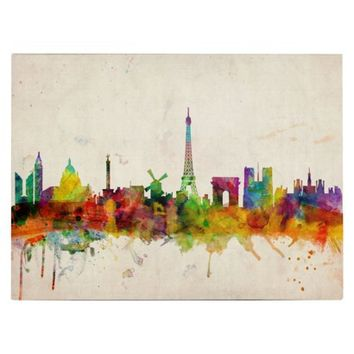 Paris Skyline Unframed Wall Canvas