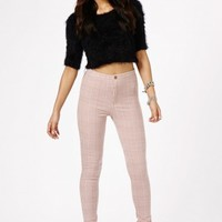 Missguided - Weronika Dogtooth Check Skinny Trousers In Pink