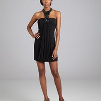 LM Collection black stretch jersey beaded halter cocktail dress | BLUEFLY up to 70% off designer brands