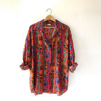 STOREWIDE SALE..80s silk shirt. tribal silk blouse. oversized silk top.