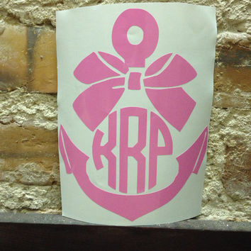 Anchor monogram car decal free shipping or bow monogram decal