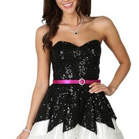 Strapless Dress with Tulip Skirt and Neon Pink Belted Waist