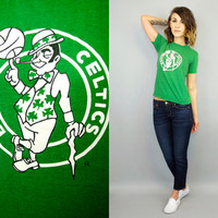 vintage 1980's snug BOSTON CELTICS basketball sports nba shamrock GRAPHIC t-shirt , extra small-small