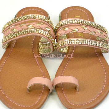 Luna Cove Blush Embellished Toe Sandal
