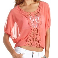 SHEER CROCHET APPLIQUE HIGH-LOW TOP