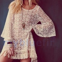 Lace Mini Dress Shirt
