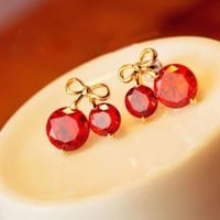 Bow Cherry Zircon Earring