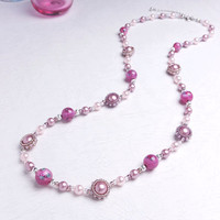 Pink Rose Flower Lampworked Beads Necklace with Beaded Puffy Circles, ne762010ros