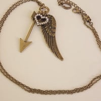 arrow wing long necklace  long brass necklace angel necklace