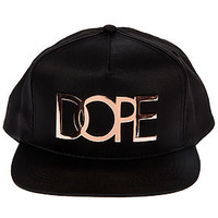 The Large Rose Gold Metal Logo Snapback in Black