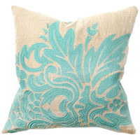 Flora Turquoise Embroidery Pillow Pair