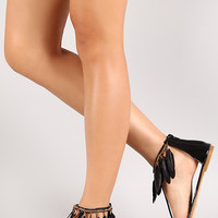 Dream-6 Feather Trim Toe Strap Flat Sandal