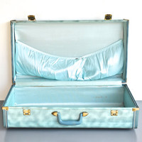 Blue Mid Century Suitcase - Unique Two Toned Blue Luggage