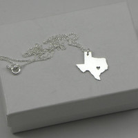 Sterling Silver State Love Heart Necklace - Texas