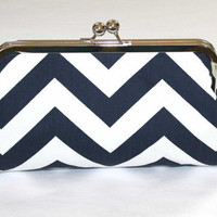 Navy White Chevron Bridesmaid Clutch by ModDotTextiles on Etsy