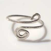 Hammered Silver Wire Spiral Toe Ring Adjustable Size