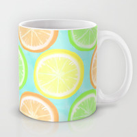 Citrus Wheels (Aqua) Mug by Lisa Argyropoulos | Society6