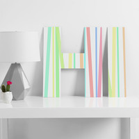 Lisa Argyropoulos Pastel Rainbow Stripes Decorative Letters