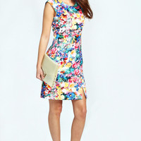 Rachel Tropical Floral Ruched Detail Dress