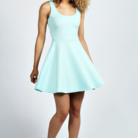 Mary-Jane Quilted Skater Dress