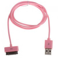 Dock Connector to USB 2.0 Cable for TPhone 4S, TPhone 4, TPhone 3G3GS, iPod, Cell Phone, MP3 & MP4 - Pink-Cables-
