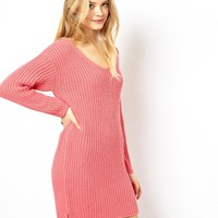 ASOS Jumper Dress With Slouchy V Neck