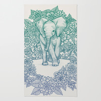 Emerald Elephant in the Lilac Evening Area & Throw Rug by micklyn   Society6