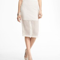 HIGH WAIST CROCHETED MIDI PENCIL SKIRT