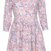 ROMWE Half sleeved Floral Print Apricot Dress