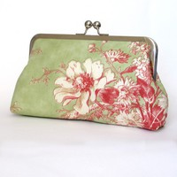 Kisslock Frame Clutch Silk Lined Pink and Green by FoxburyAndCo