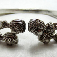 2 Sterling SB Cuff bangle bracelet  egyptian vintage sterling bangle cuff bracelets tribal jewelry