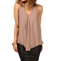 Mocha Sleeveless V-Neck Top