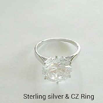 Sterling Silver Cubic Zirconia Solitaire Ring, Clear Cubic Zirconia Solitaire Sterling Silver Ring