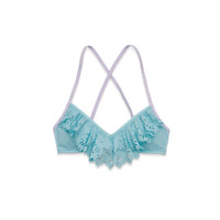 Ruffle Cross-Back Swim Top