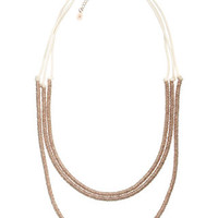 Metal Ring Layered Rope Necklace | Cream | Accessorize