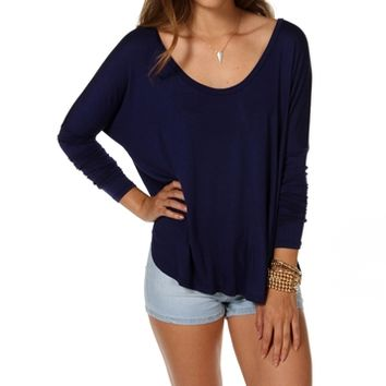 Navy Oversized Dolman Top
