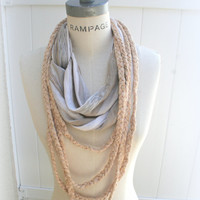 Braided Necklace Infinity Scarf  Summer Fashion Fall Neckwarmer Trendy Necklace - By PiYOYO