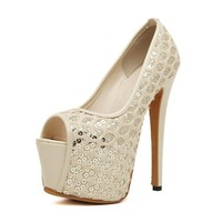 MagicPieces Women's Sequins Peep Toe Platformss with Lace Detail 040716 Z0418