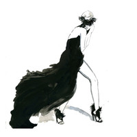 Watercolor Fashion Illustration - Valentino Haute Couture print