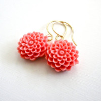 Coral Pink Flower Drop Earrings  Spring by ASimpleKindOfFancy