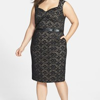 ABS by Allen Schwartz Leather Waist Lace Sheath Dress (Plus Size) | Nordstrom