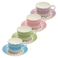 Cashmere Chantilly Lace Cup & Saucer, 250ml, Assorted Colours by Maxwell & Williams