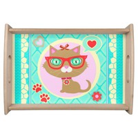 Hipster Princess Tuxedo Cat Serving Tray