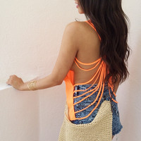 Orange Cut out Spider Web top