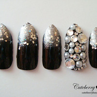 3D Bling Fake Nail Set  - Black & Silver Glitter Gradient Nails with Rhinestones and Pearls