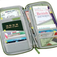 Travel Wallet with Closure Zip Document Organiser Passport Ticket Holder (Green)