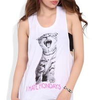 Twist Back Tunic Tank with I Hate Mondays Cat Screen